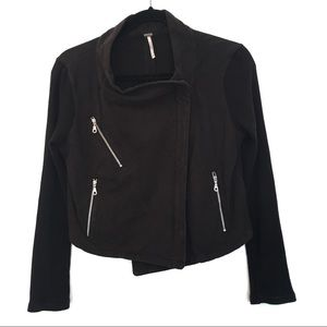 [FREE PEOPLE] 100% Cotton Black Zipper Jacket SP